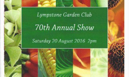 Lympstone Garden Club, 70th Annual Show, Saturday 20 August, 2pm