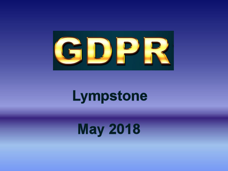 General Data Protection Regulations May 2018