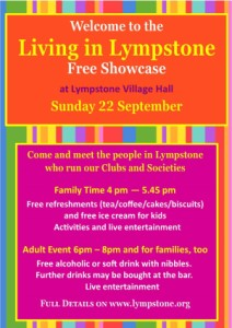'Living in Lympstone' free community event on Sunday 22nd September