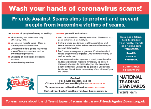 Wash your hands of Coronavirus scams